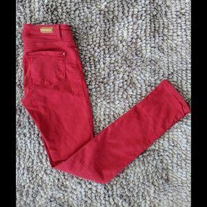 Zara Basic Red Denim Skinnies, Size 2